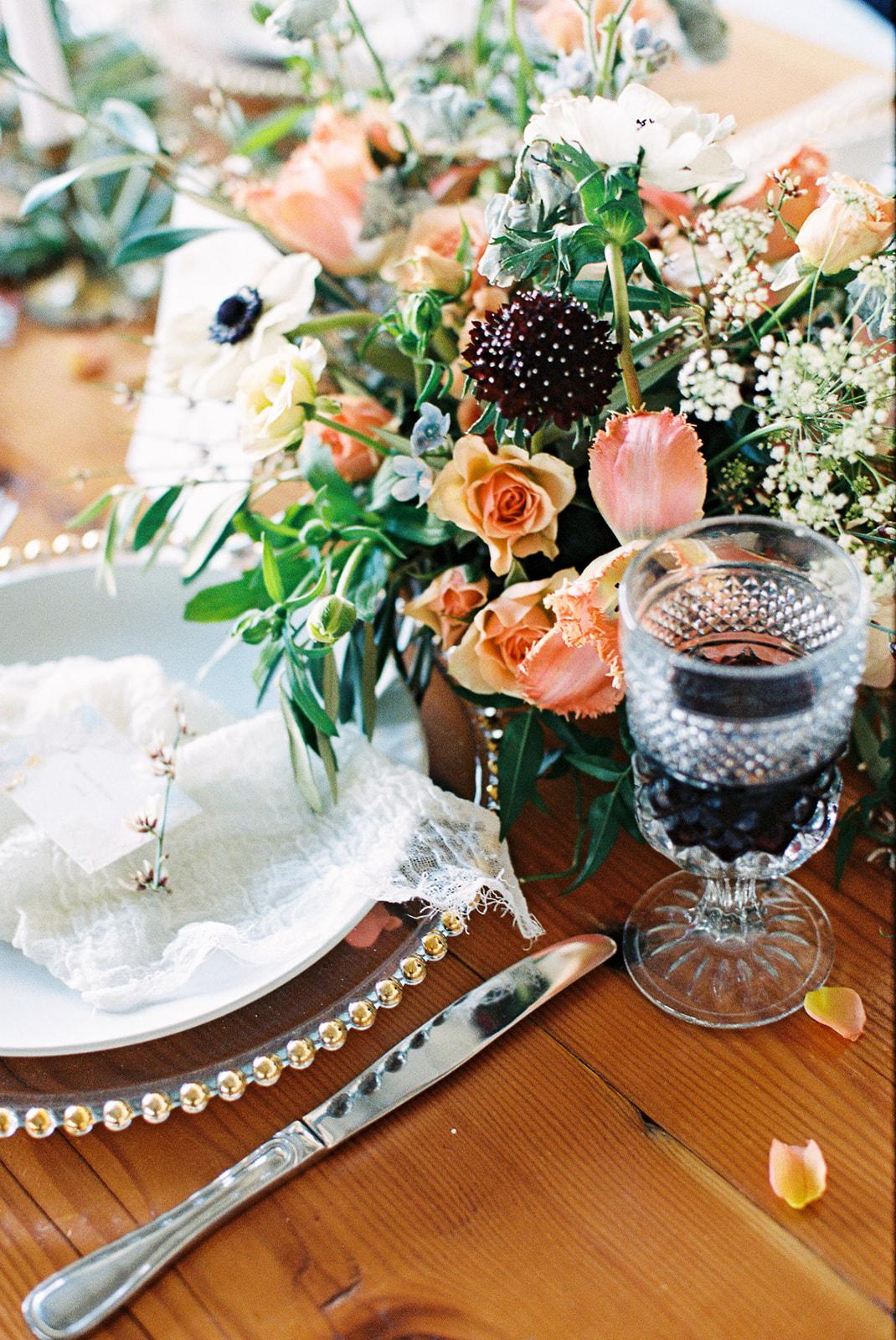Rose Scabiosa Anemone Wedding Centerpiece