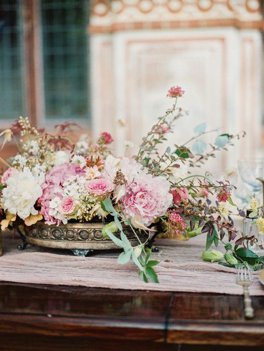 Antique Vintage Romantic Peony Rose Hydrangea Centerpiece