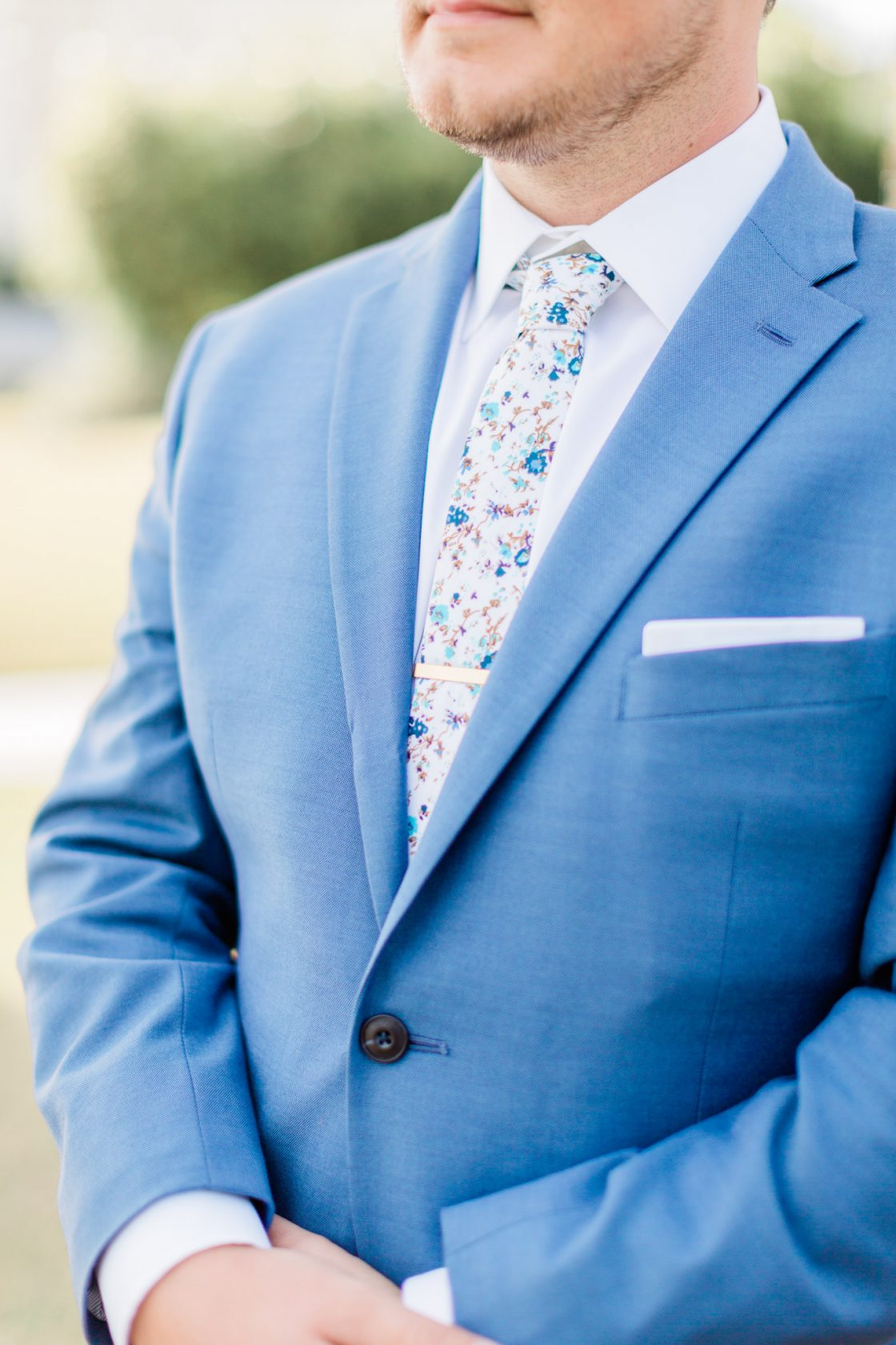 Blue Wedding Suit with Floral Tie