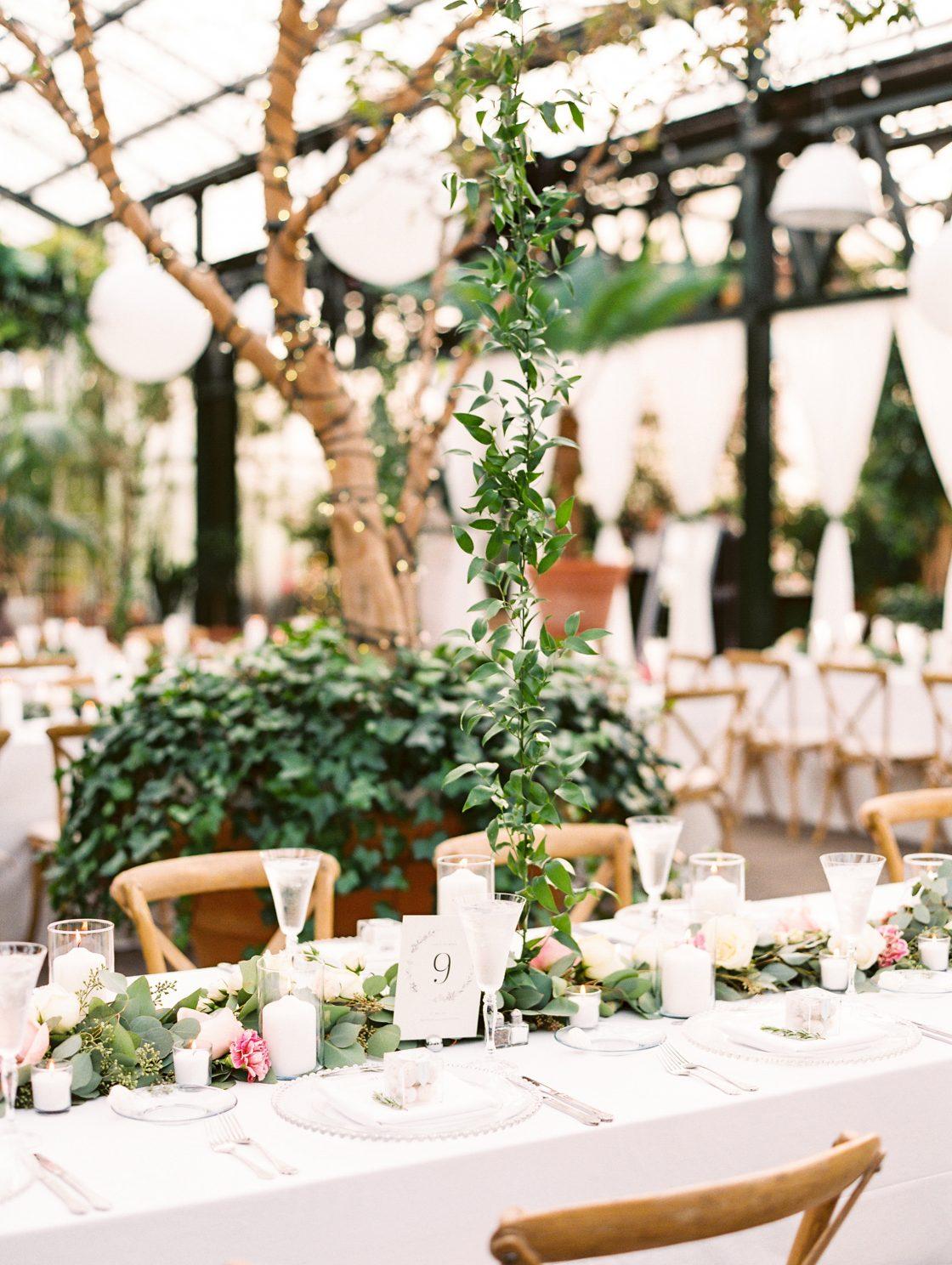 Botanical Conservatory Greenery Wedding Reception Decor