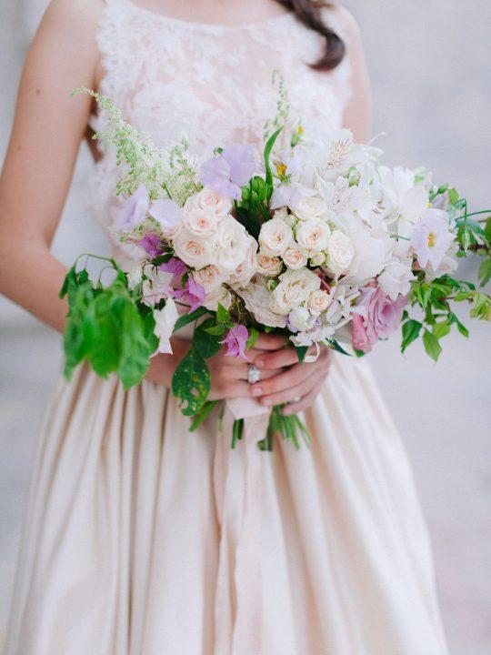 Champagne Blush Ivory Lavender Wedding Bouquet