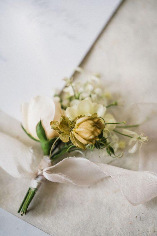 Cream Ivory Blush Romantic Boutonniere