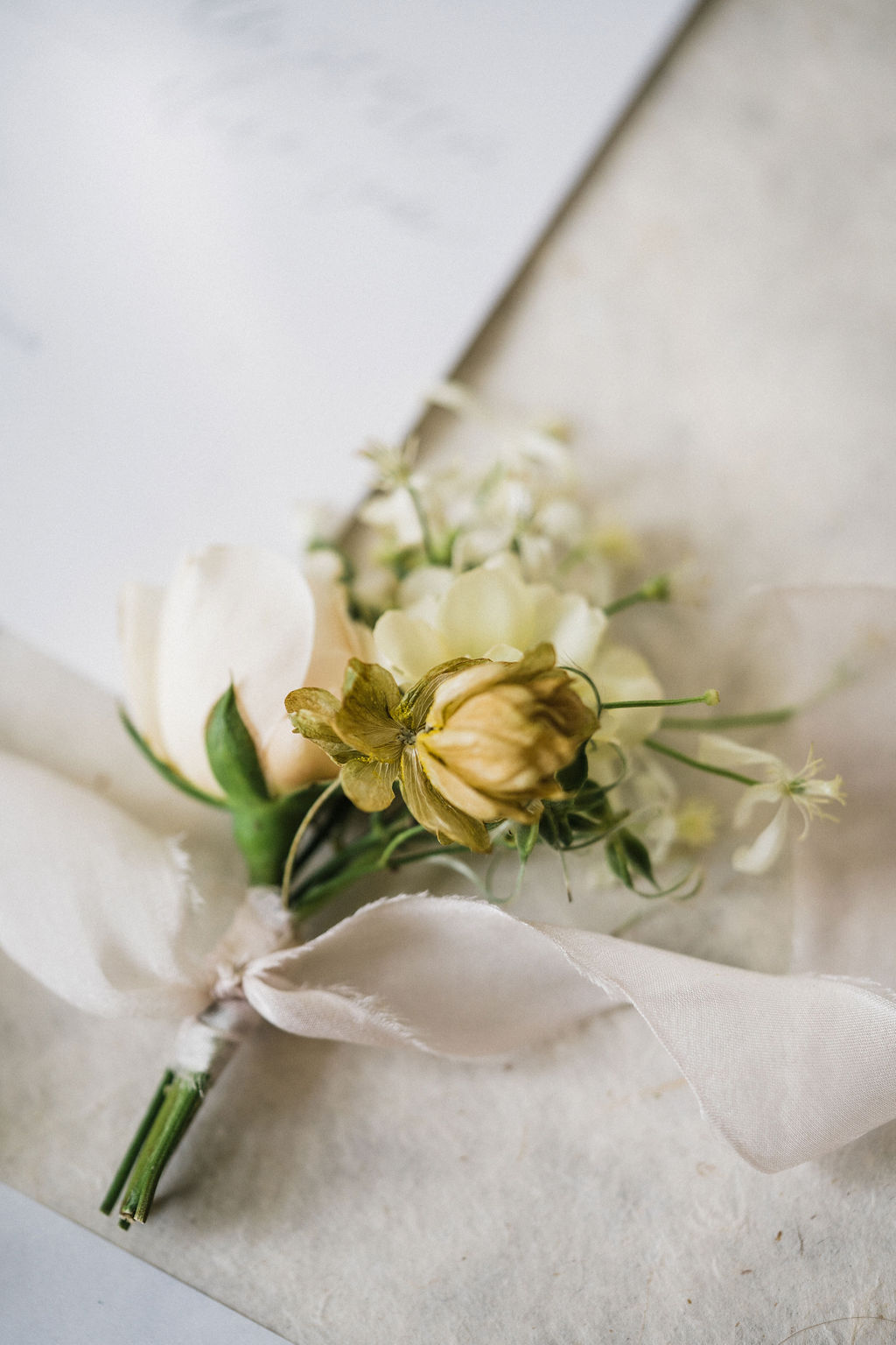 Cream Ivory Blush Romantic Boutonniere