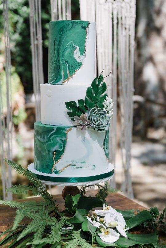 Emerald Green Marble Geode Wedding Cake