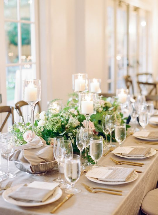 Flax Linen and White Wedding Tablescape