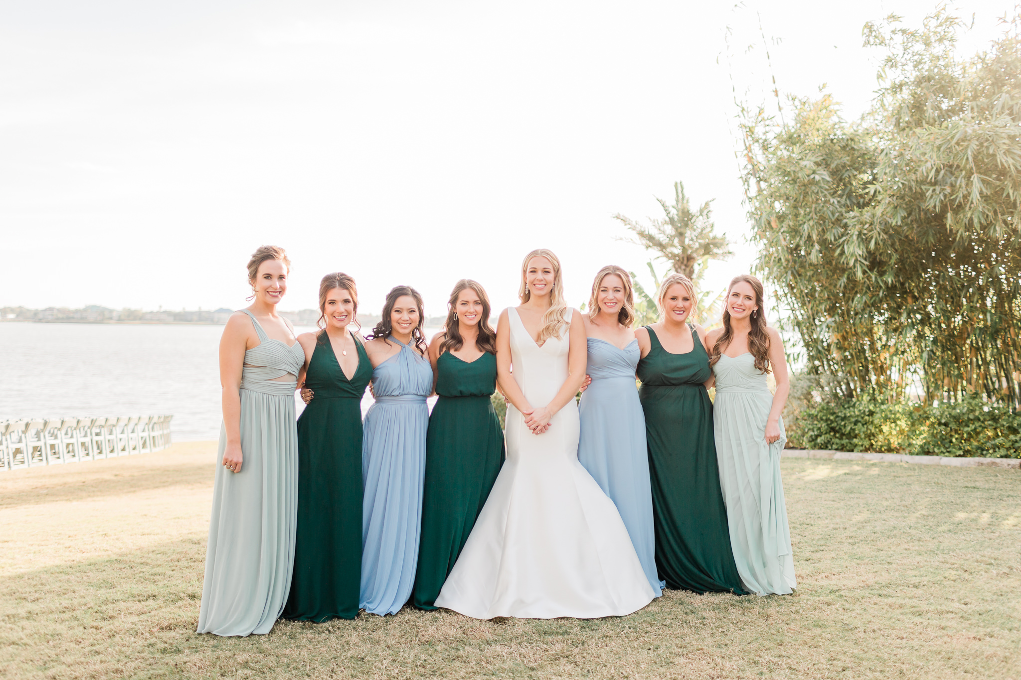 Green and Blue Bridesmaids Dresses
