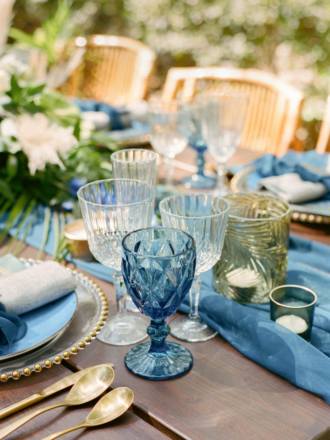 Indigo and Cobalt Wedding Tablescape