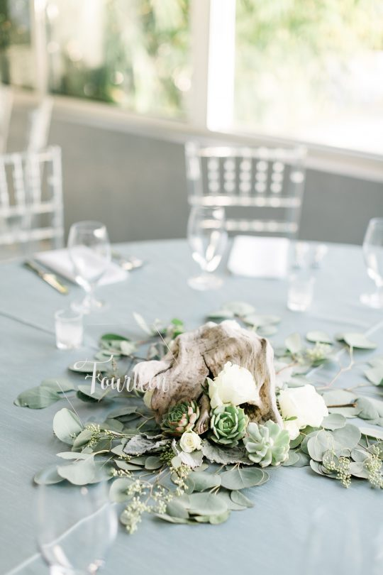 Neutral Driftwood and Eucalyptus Rose Wedding Centerpiece