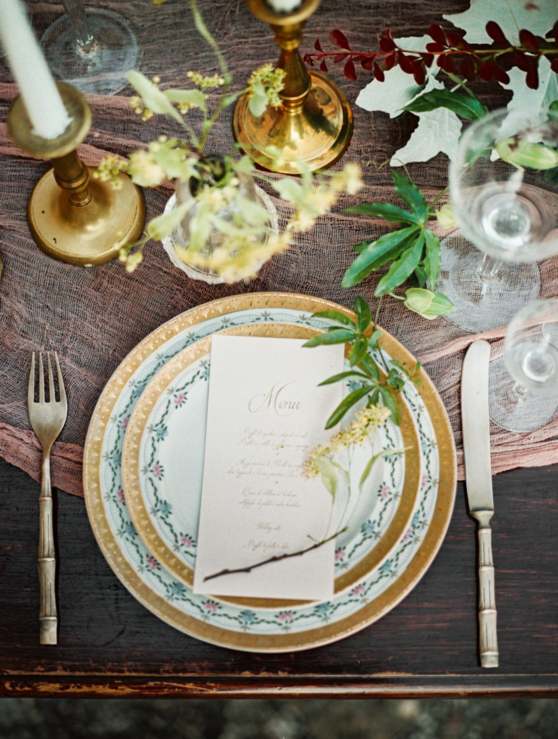 Old World Italian Wedding Guilded Tablescape