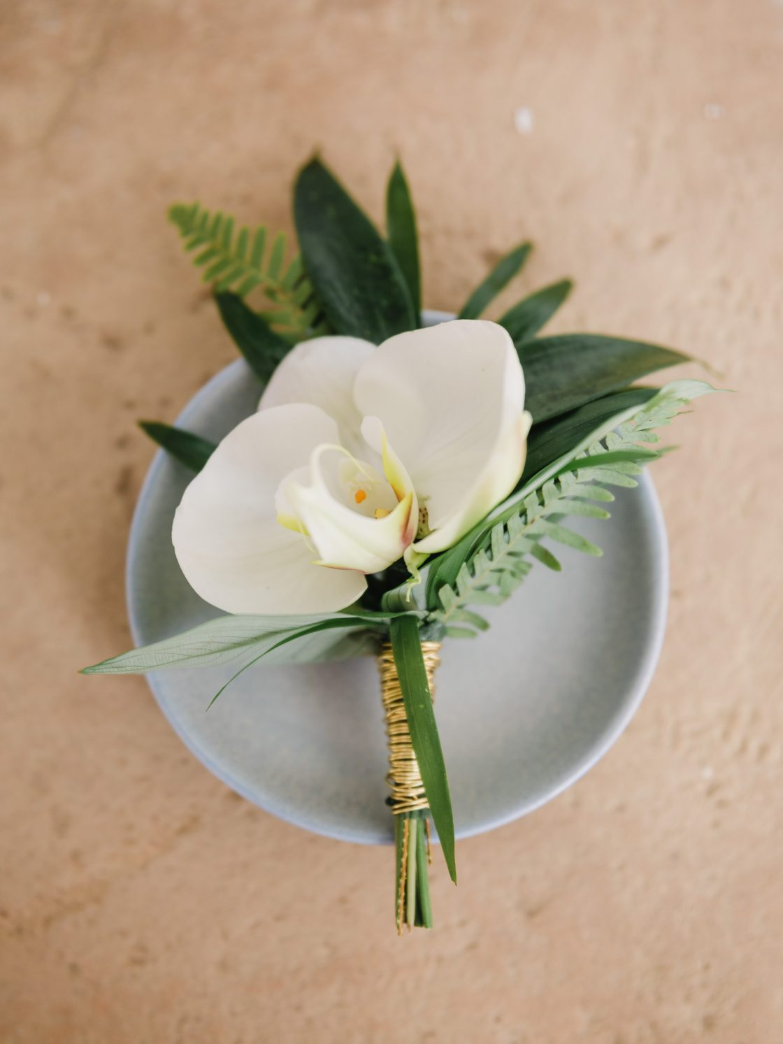 Orchid Palm Fern Boutonniere