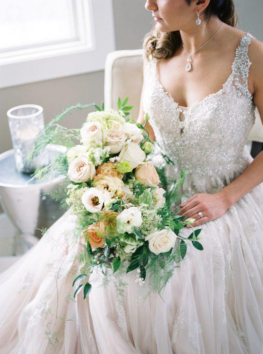 Peach Ivory Wedding Bouquet