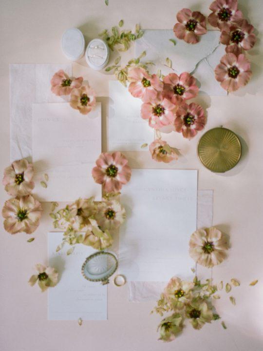 Romantic and Vintage Wedding Invitation Flatlay