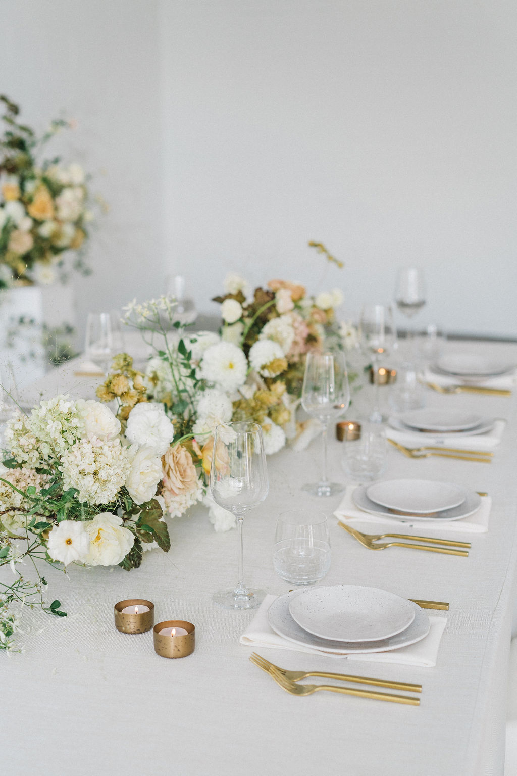 Springtime Gold Wedding Tablescape