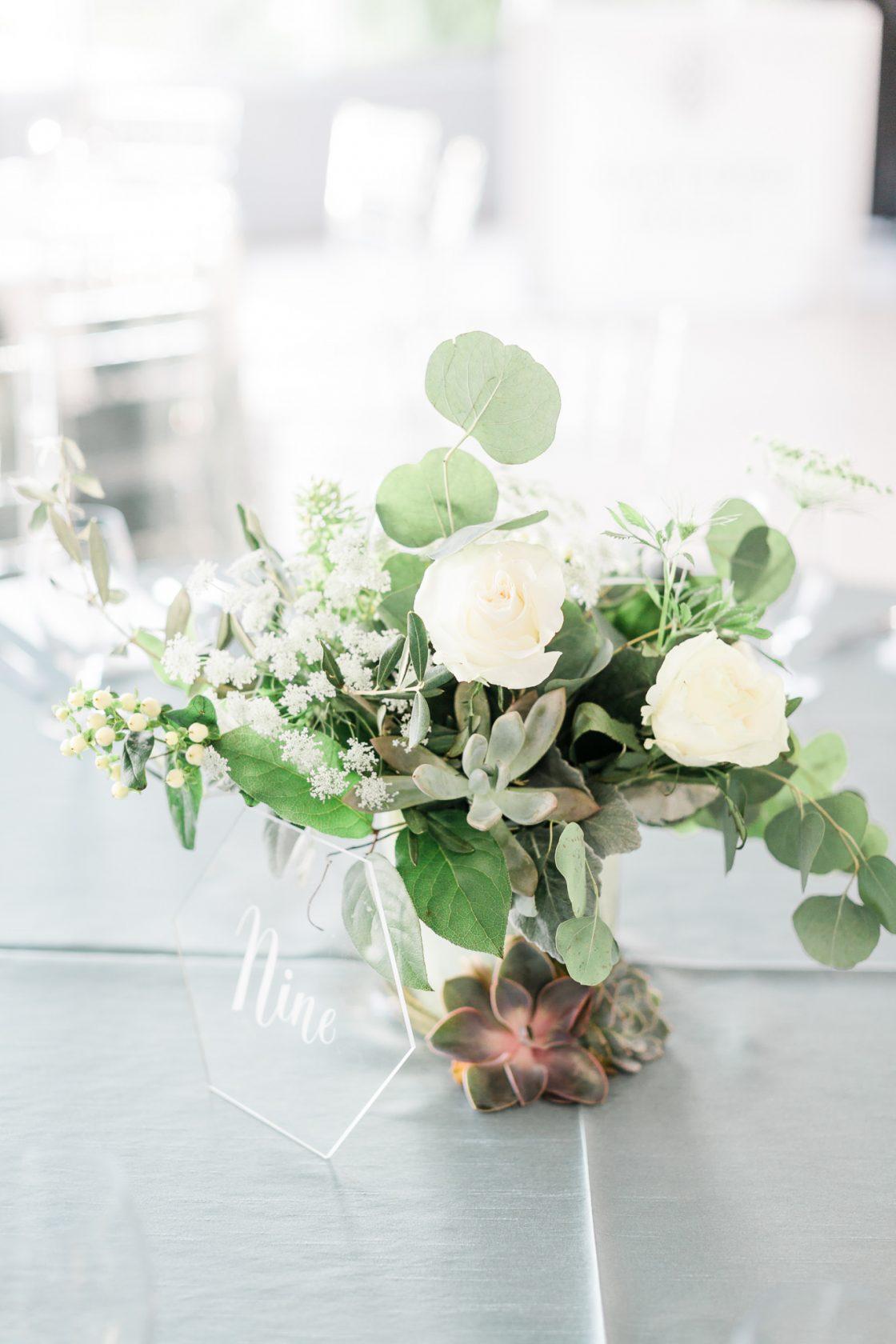 Succulent Rose Eucalyptus Wedding Centerpiece