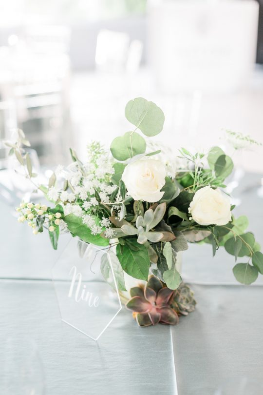 Succulent Rose Eucalyptus Wedding Centerpiece