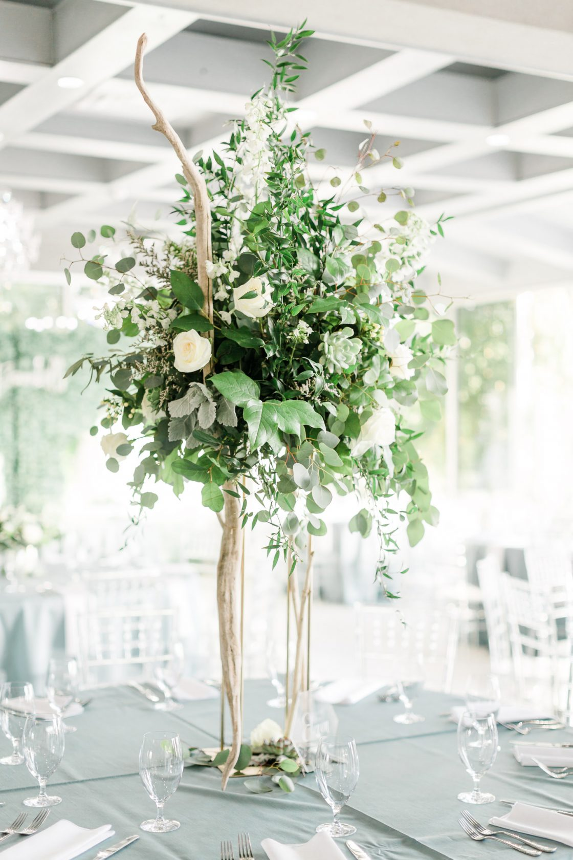 Tall White and Green Coastal Wedding Centerpieace