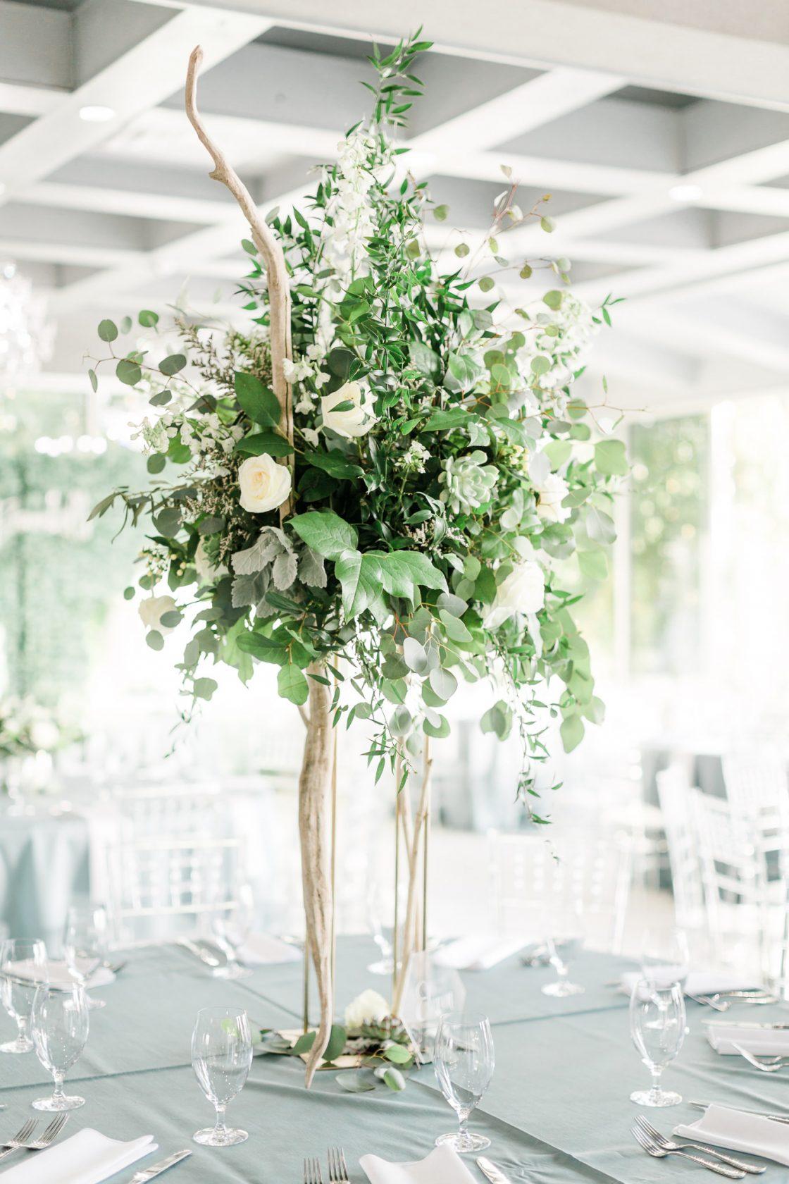 Tall White and Green Coastal Wedding Centerpieace