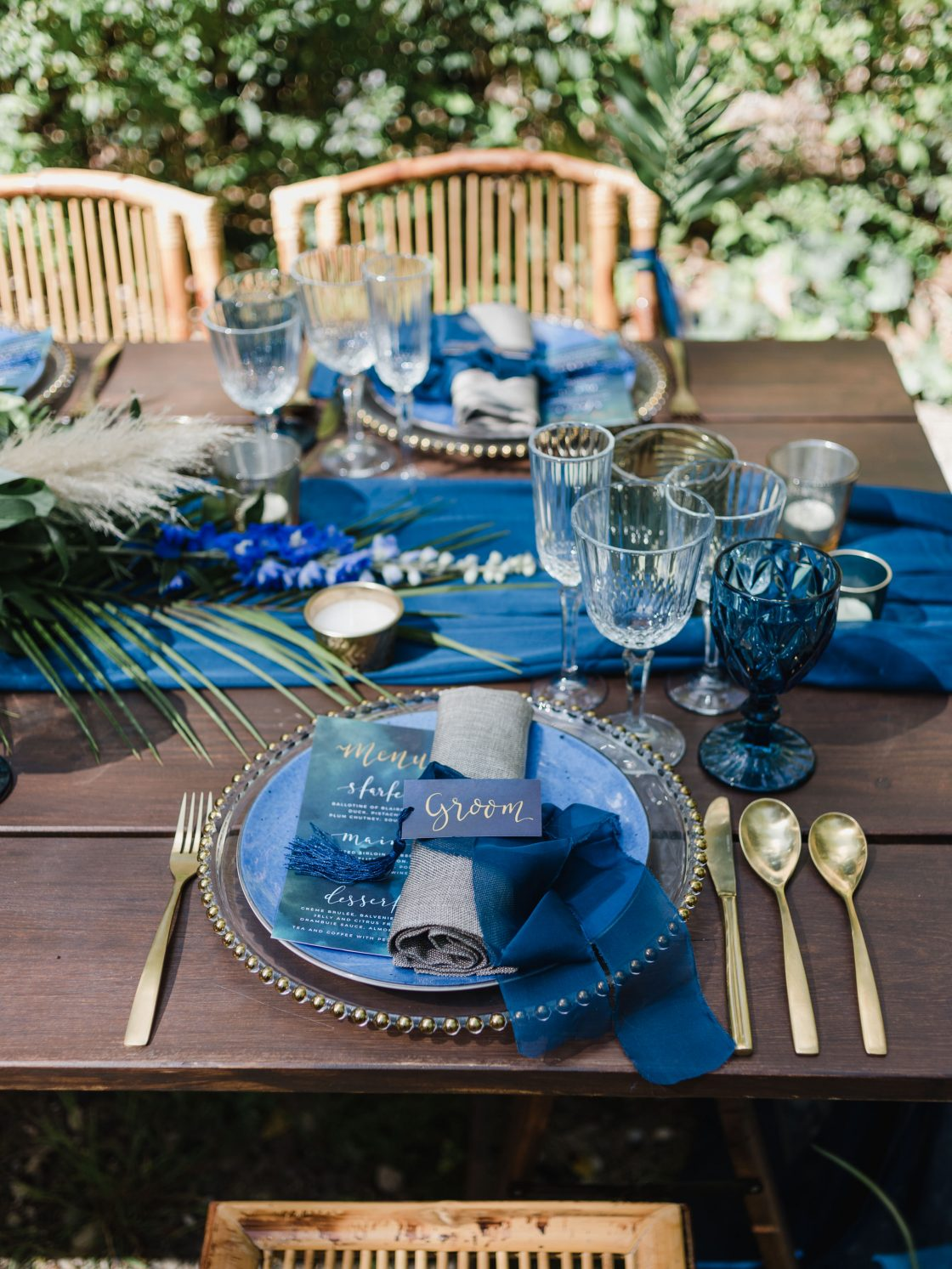 Tropical Blue Wedding Tablescape