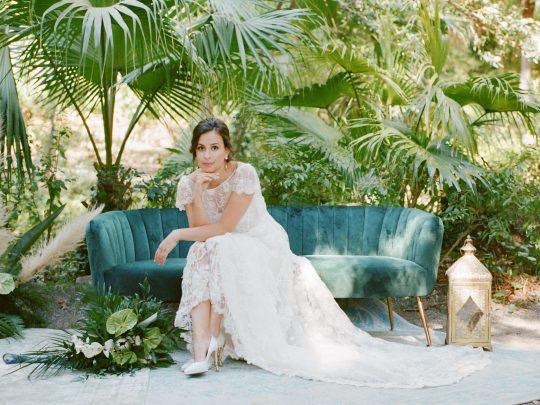 Tropical Botanical Garden Wedding Portrait
