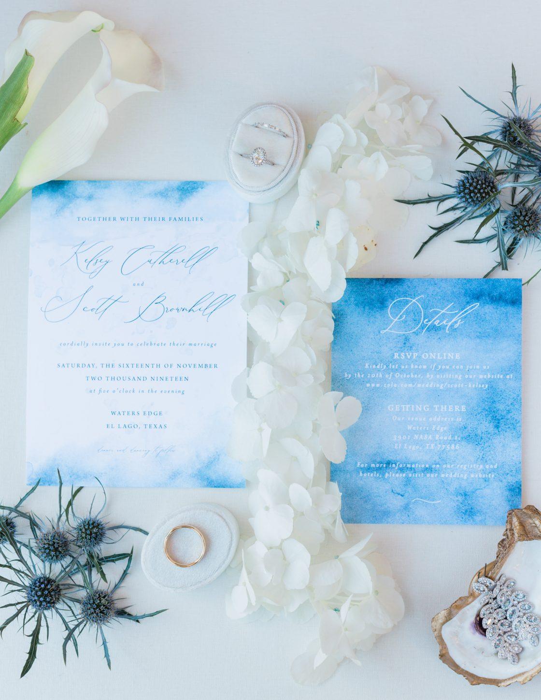 Watercolor Beach Inspired Wedding Invitation