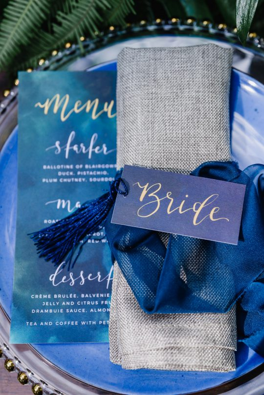Watercolor Blue Wedding Place Setting