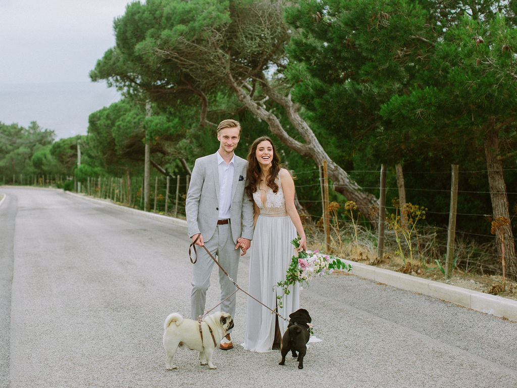 Wedding Picture with Dogs