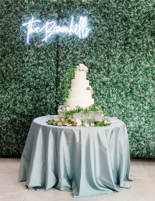 White Cake Table with Custom Neon