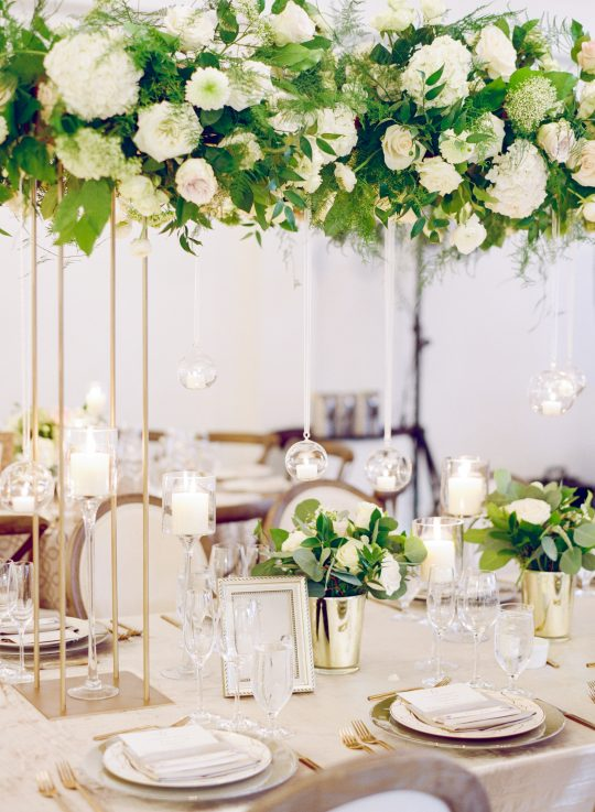White Rose Hydrangea Tall Centerpiece