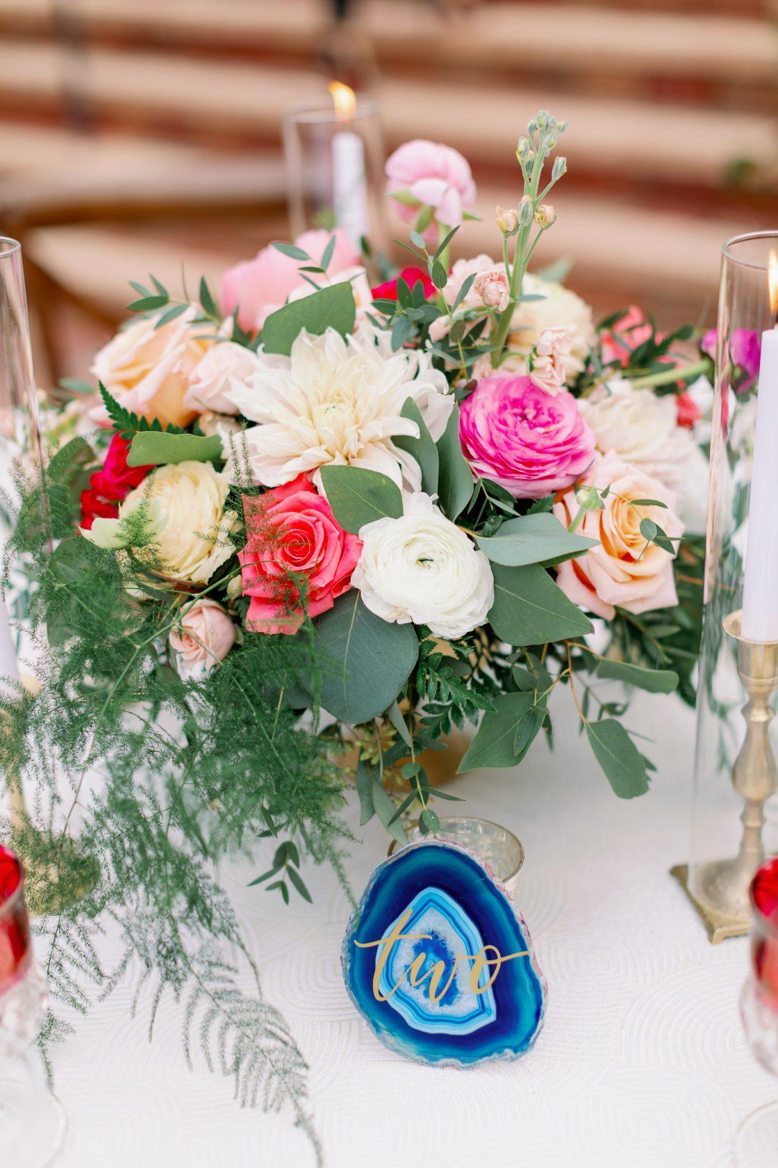Blue Agate Slice Wedding Table Number