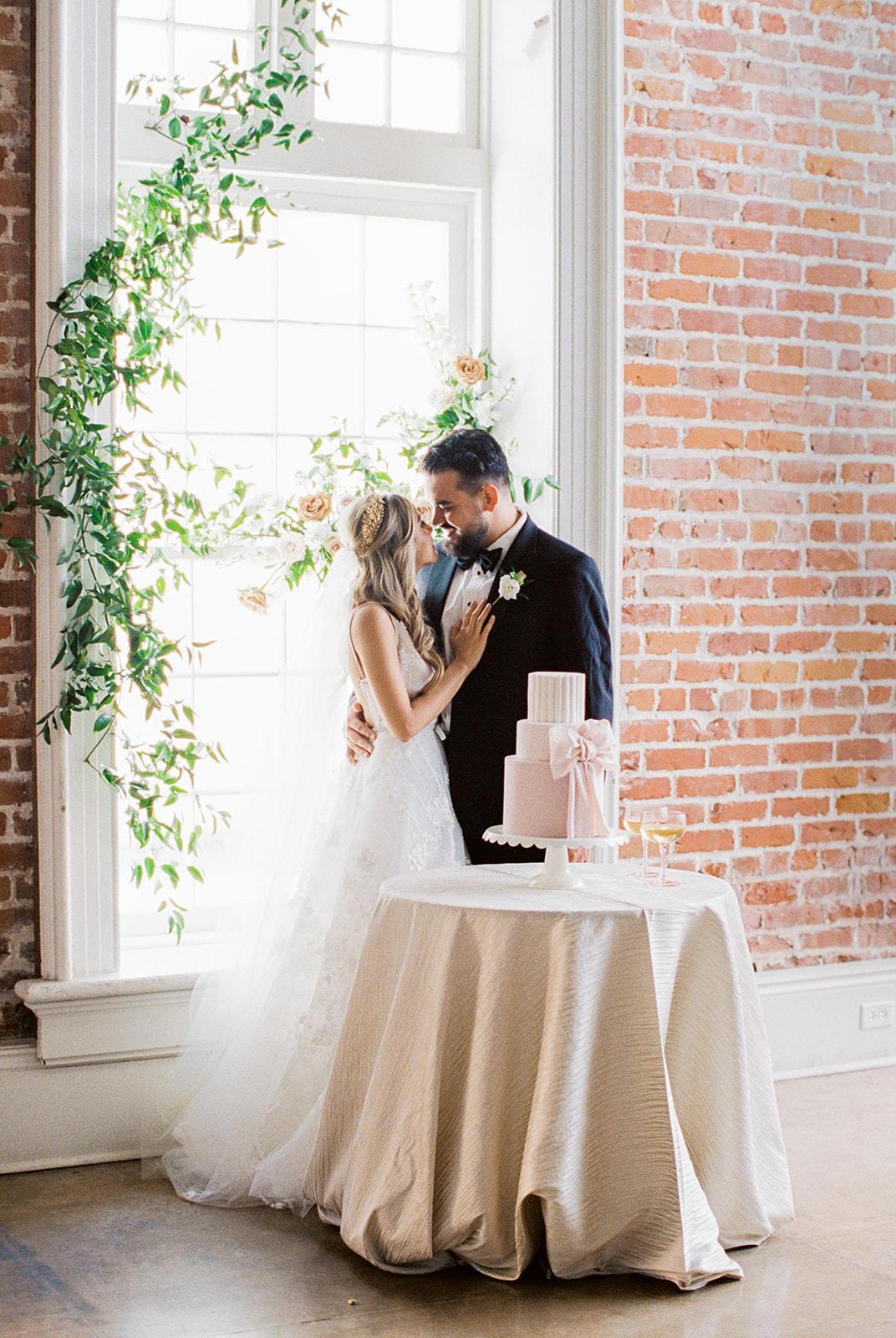 Blush Bow Wedding Cake