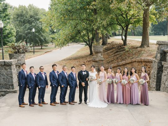 Blush and Dusty Mauve Bridal Party