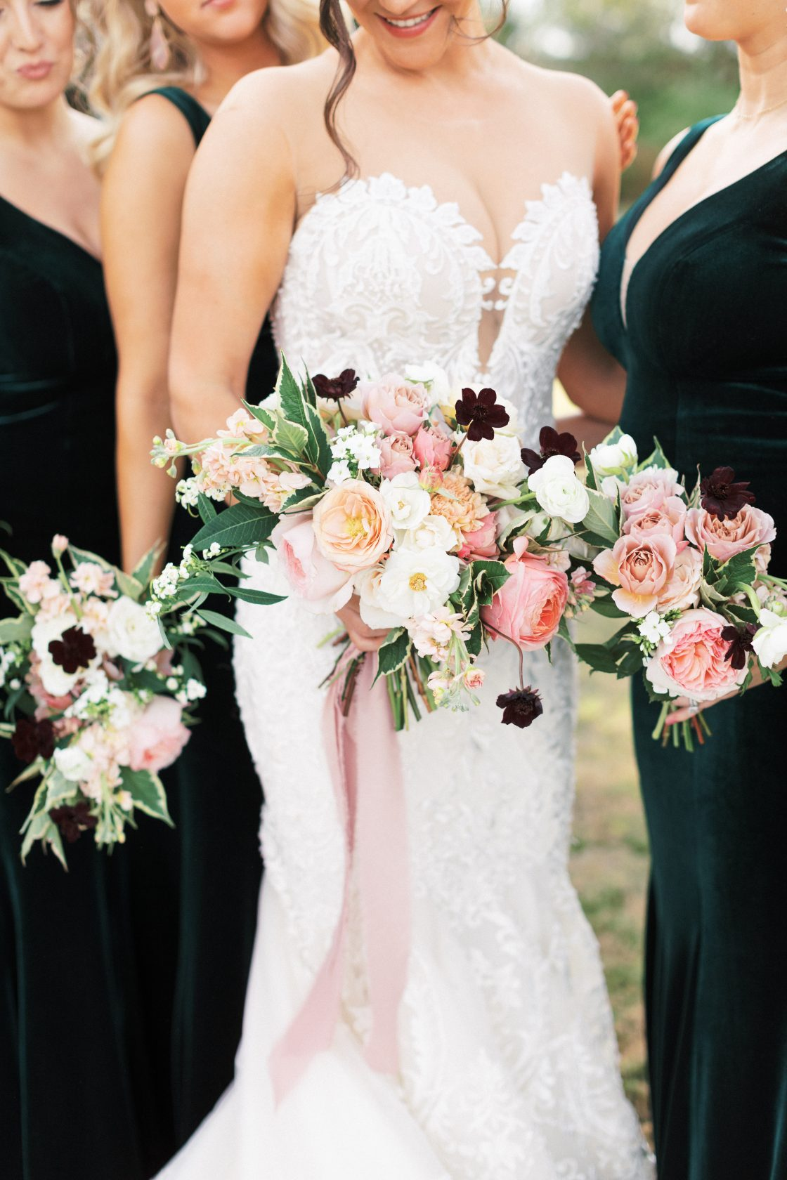 Coral Blush Ivory Wedding Bouquets