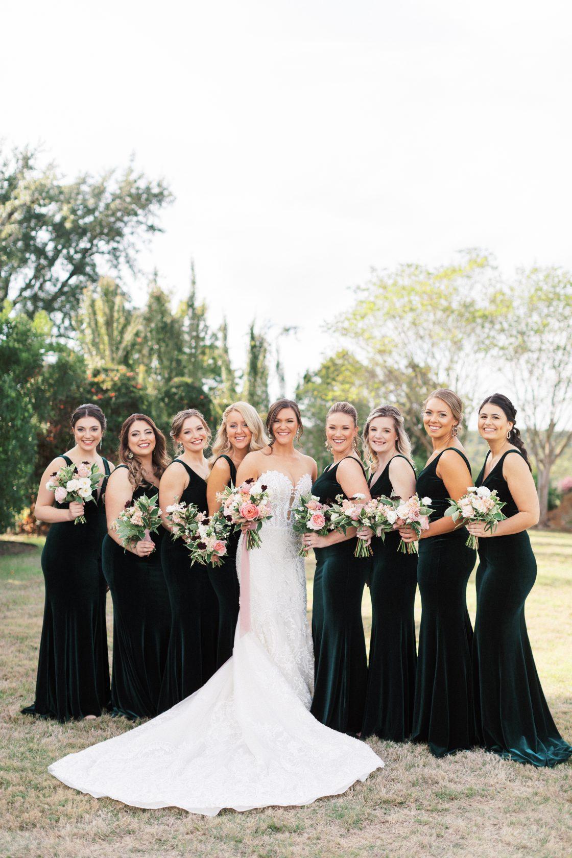 Deep Green Velvet Bridesmaids Dresses
