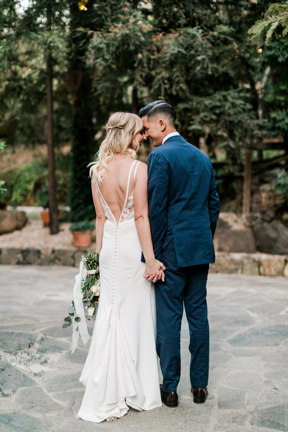 Elegant V Back Wedding Gown