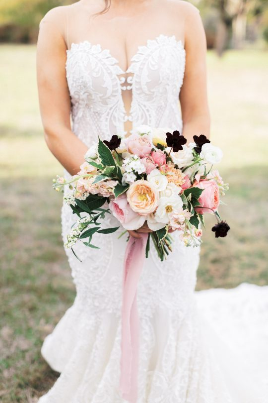 Ivory Burgundy Coral Peach Bridal Bouquet