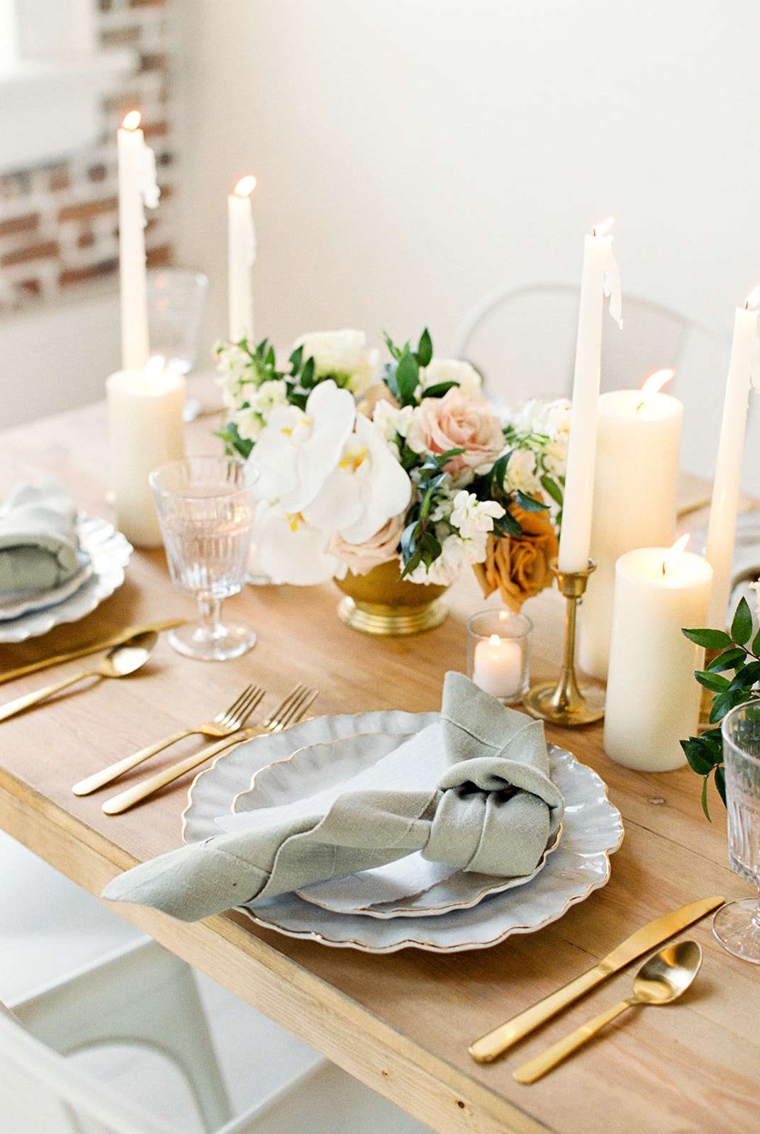 Ivory Gold and Sage Green Wedding Tablescape