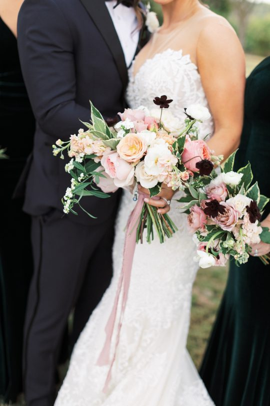Ivory and Coral WEdding Bouquets