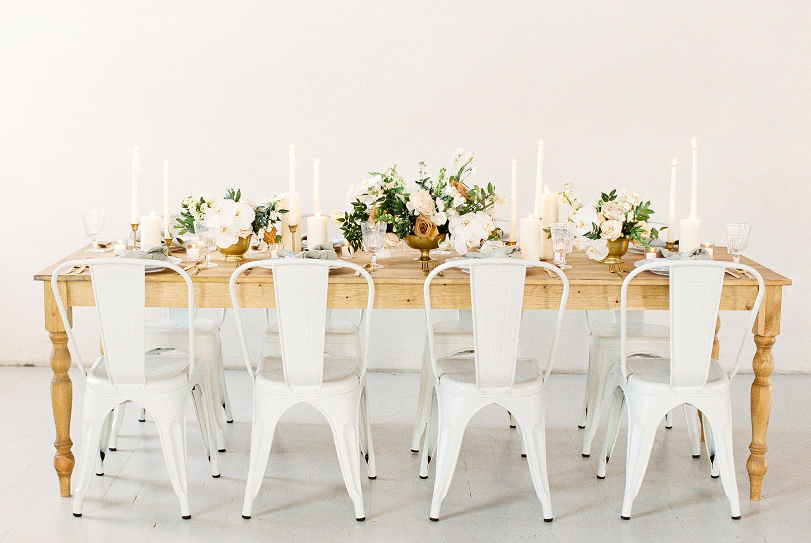 Ivory and Gold Micro Wedding Tablescape