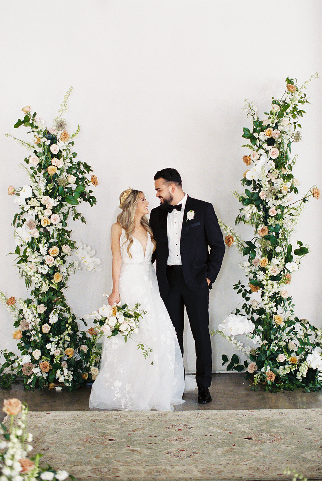 Ivory and Gold Wedding Ceremony Florals