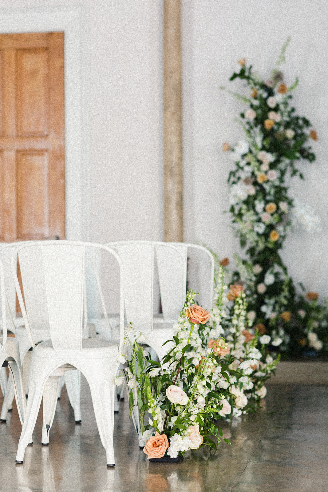 Ivory and Gold Wedding Ceremony Flowers