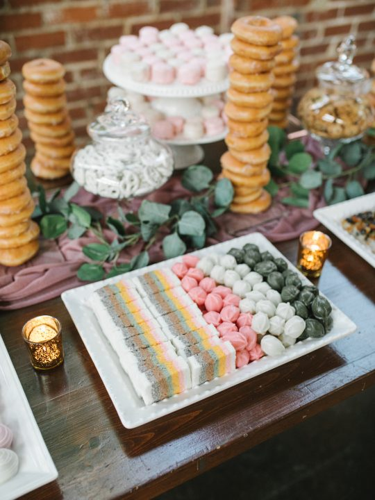 Korean Rice Cakes Petit Fours and Donut Wedding Dessert Bar