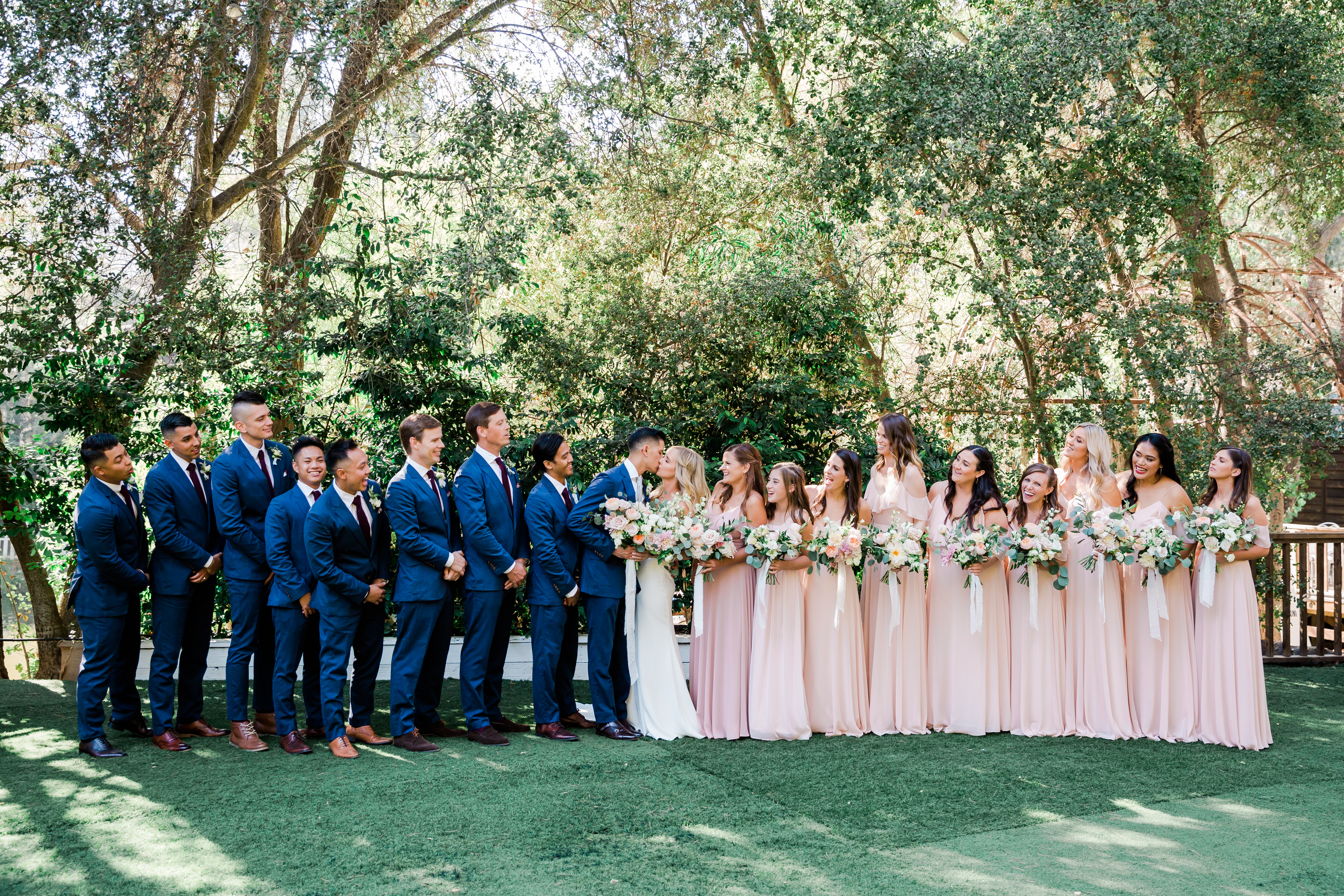 Large Blush and Navy Bridal Party Photo