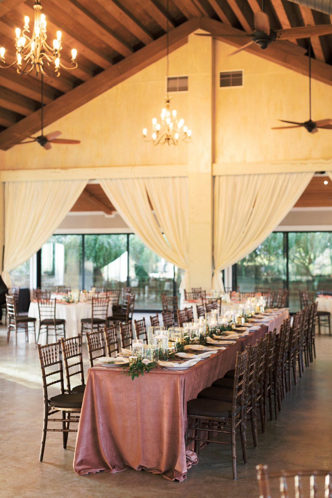 Mauve Wedding Reception Tablescape