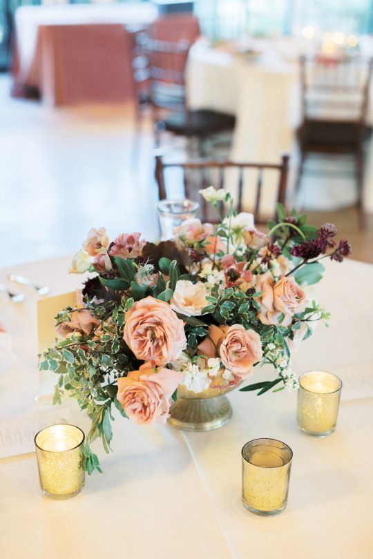 Mauve and Burgundy Wedding Centerpiece