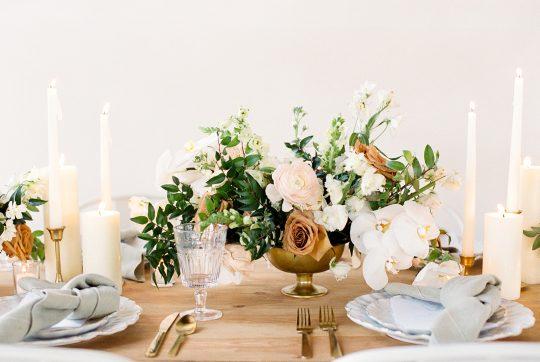 Monochromatic Gold and White Wedding Centerpiece