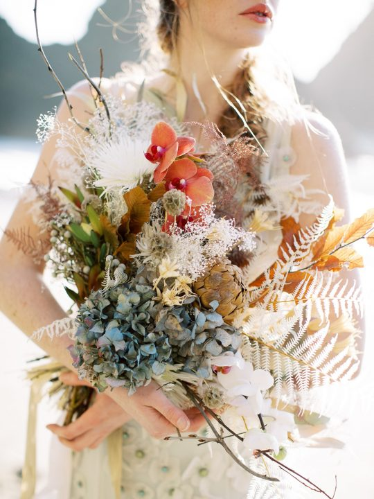 Orchid and Dried Flowers Wedding Bouquet