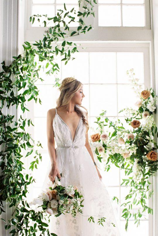 Organic Greenery Wedding Bridal Portrait