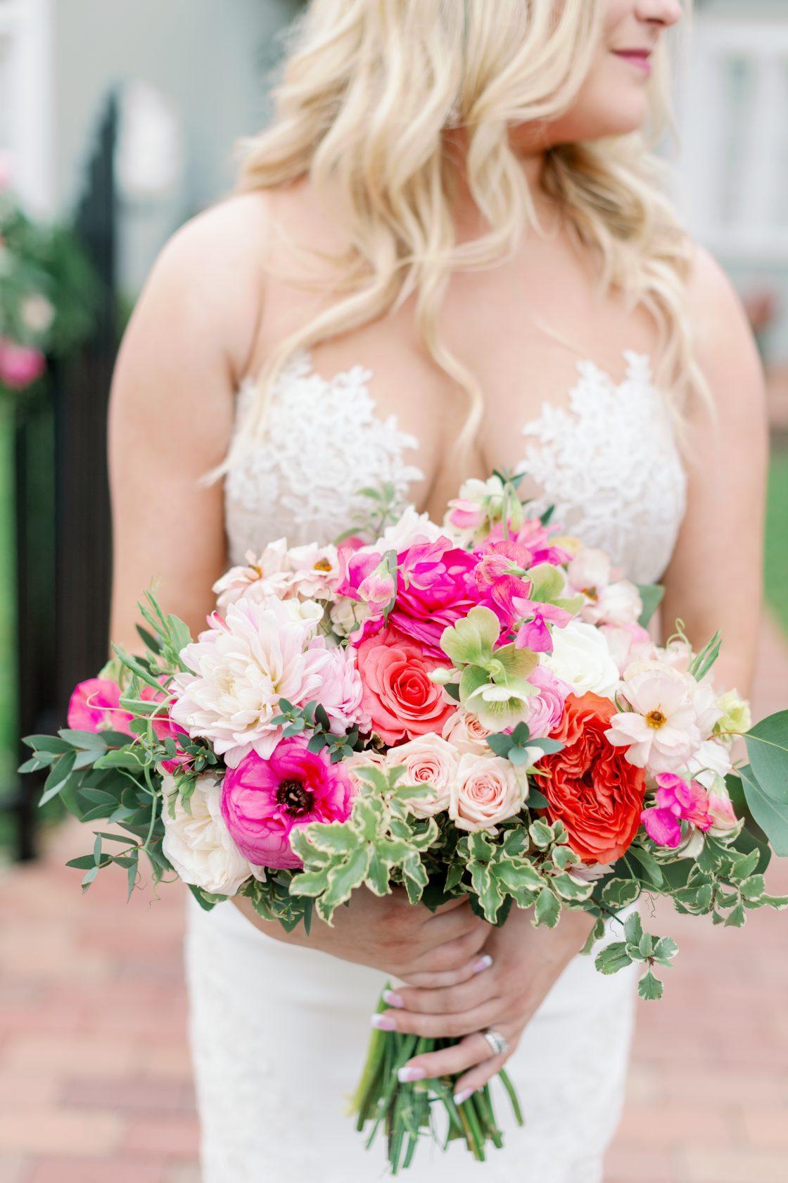 Peach Raspberry Coral Wedding Bouquet