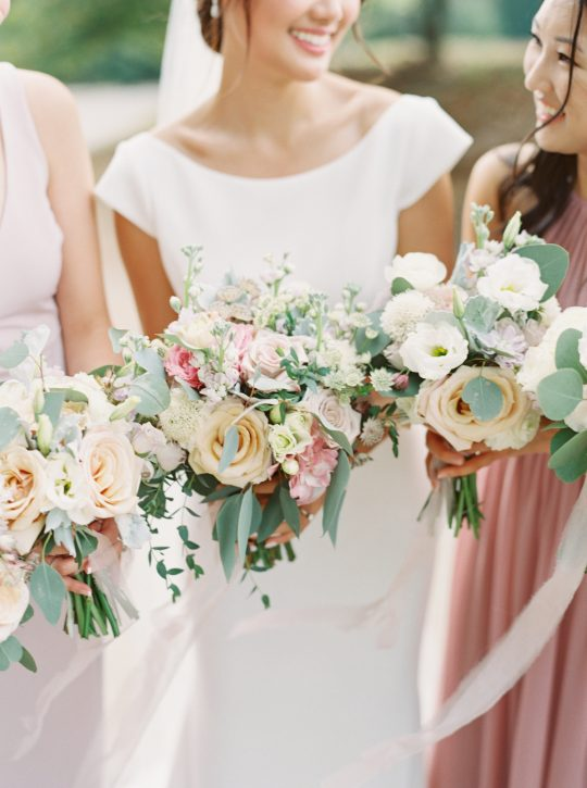 Rose Lisianthus Eucalyptus Wedding Bouquets