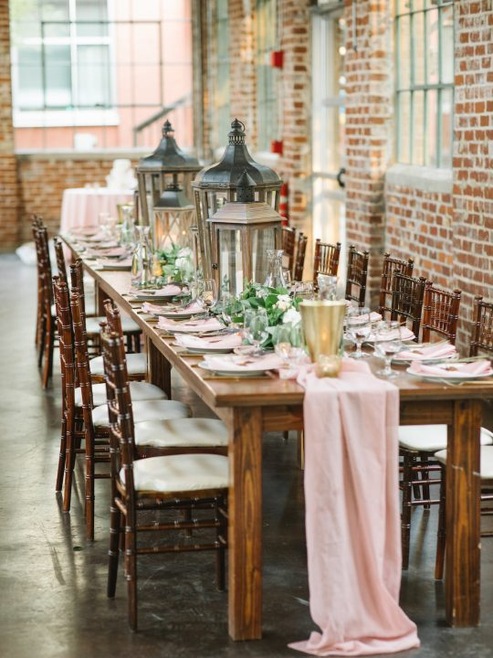 Rustic Industrial Romantic Wedding Reception Decor